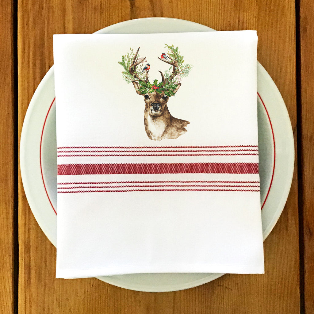 Farmhouse/Bistro Napkin with Deer & Holly
