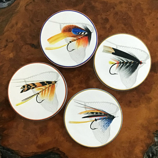 Four Sandstone Coasters in Wood Rack, Fishing Flies