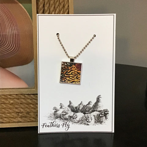 "Pheasant Feathers Bezel Pendant, 1""x 1"", on 30"" Bead Chain"