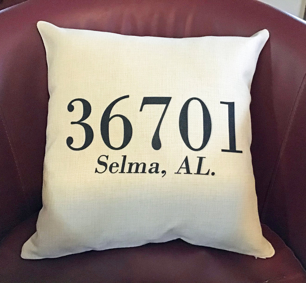 Zip Code , City & State Pillow Cover