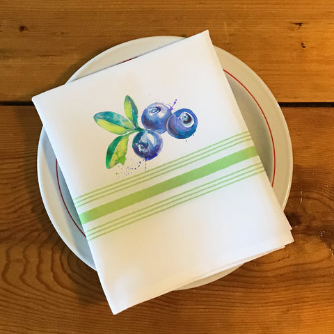 Bistro/Farmhouse Napkin with Lime Green Stripes - Blue Berries