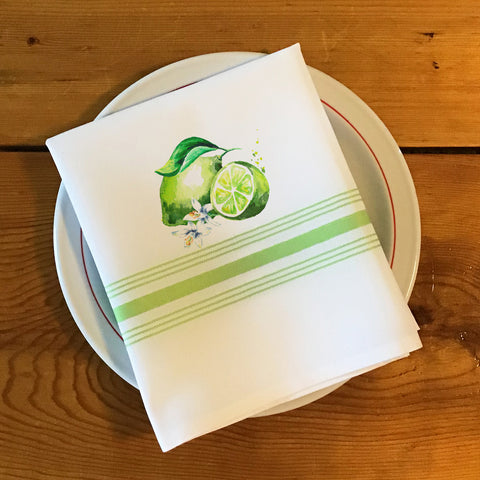 Bistro/Farmhouse Napkin with Lime Green Stripes - Fresh Limes