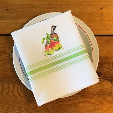 Bistro/Farmhouse Napkin with Lime Green Stripes - Bobwhite Quail