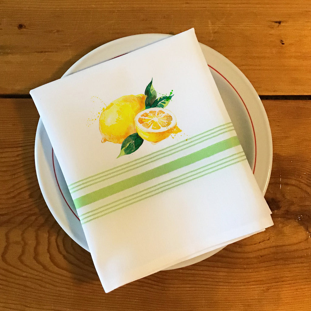 Bistro/Farmhouse Napkin with Lime Green Stripes - Fresh Lemons