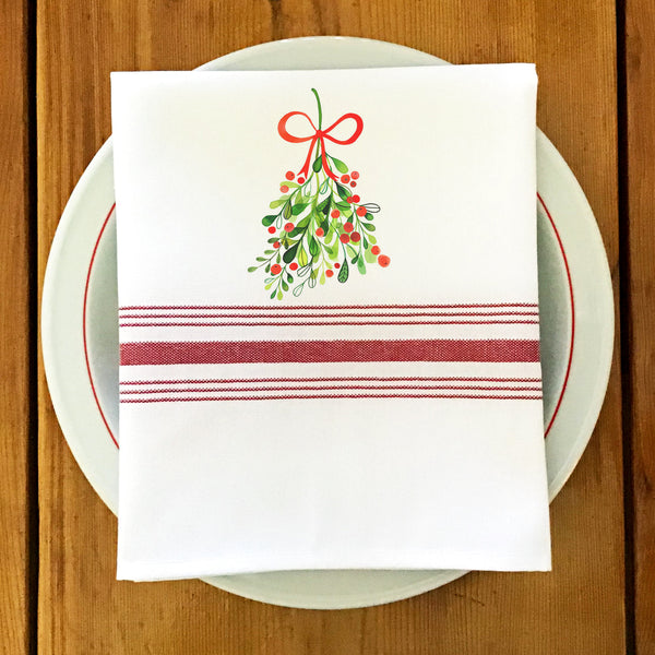 Farmhouse/Bistro Napkin with Mistletoe
