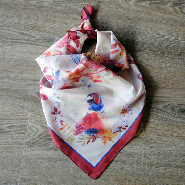 Square Scarves, All Over Print - Pheasant