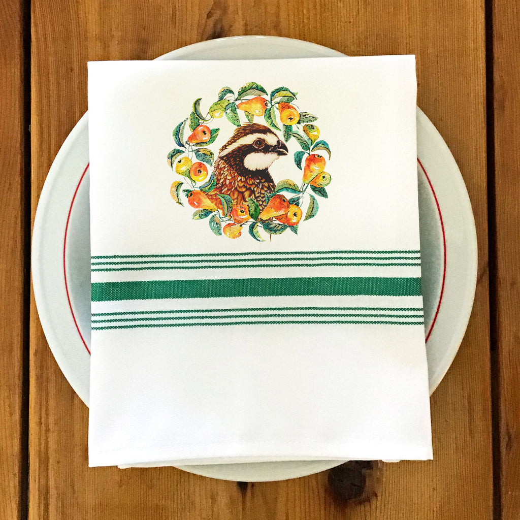 Farmhouse/Bistro Napkin with Quail & Pears
