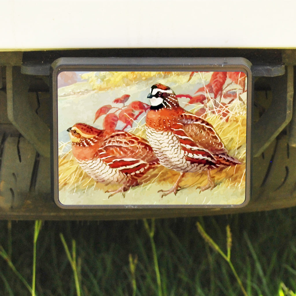 Rectangle Trailer Hitch Cover, Bobwhite Quail