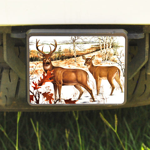 Rectangle Trailer Hitch Cover, Whitetail Deer