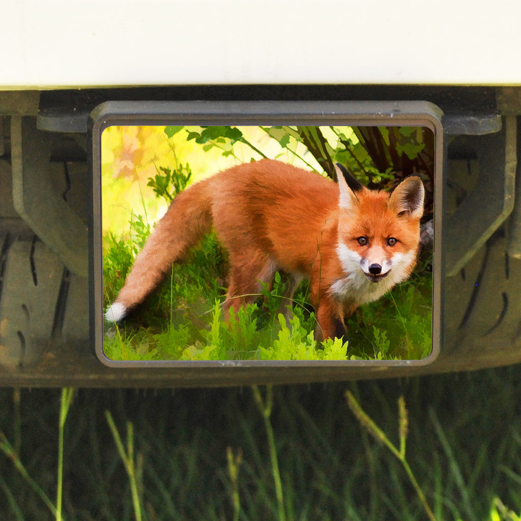 Rectangle Trailer Hitch Cover, Fox