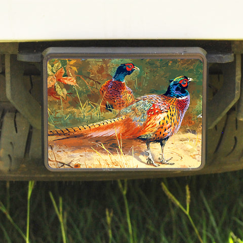 Rectangle Trailer Hitch Cover, Pheasants