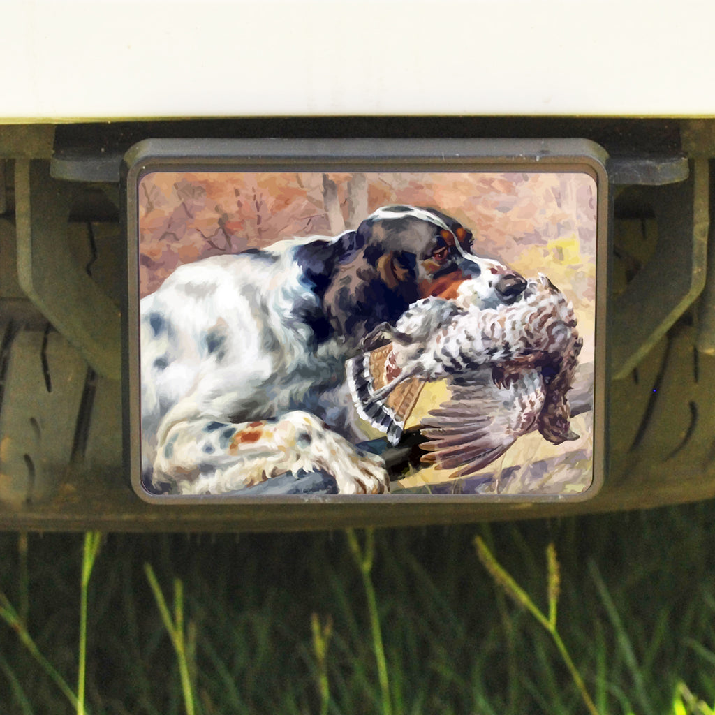 Rectangle Trailer Hitch Cover, Setter/Grouse