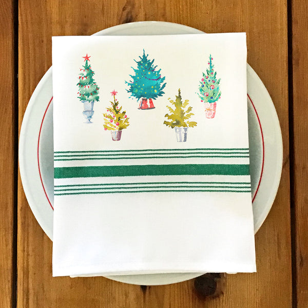 Farmhouse/Bistro Napkin with Christmas Trees