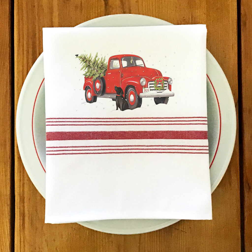 Farmhouse/Bistro Napkin with Vintage Truck