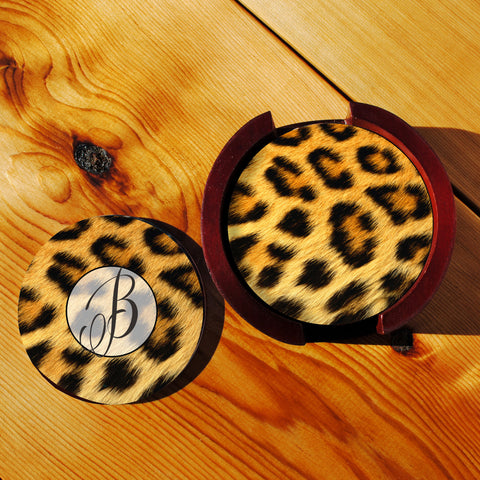 Animal Skin Sandstone Coasters in Wood Rack