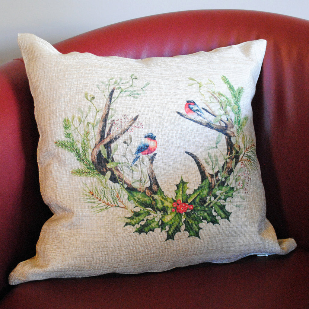 Antlers and Birds Holiday Throw Pillow Cover