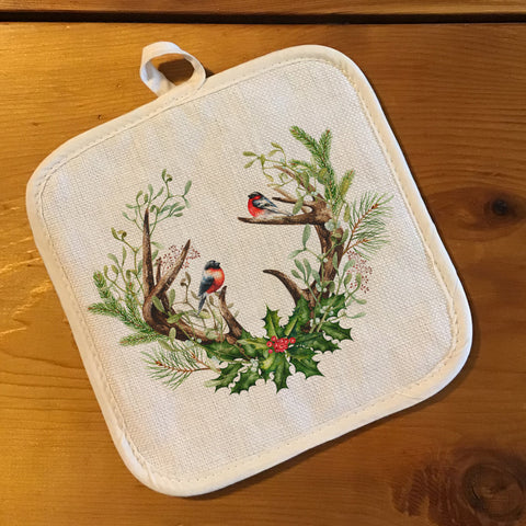 "Pot Holder, Natural Color ""Linen"" - Antlers with Holly"