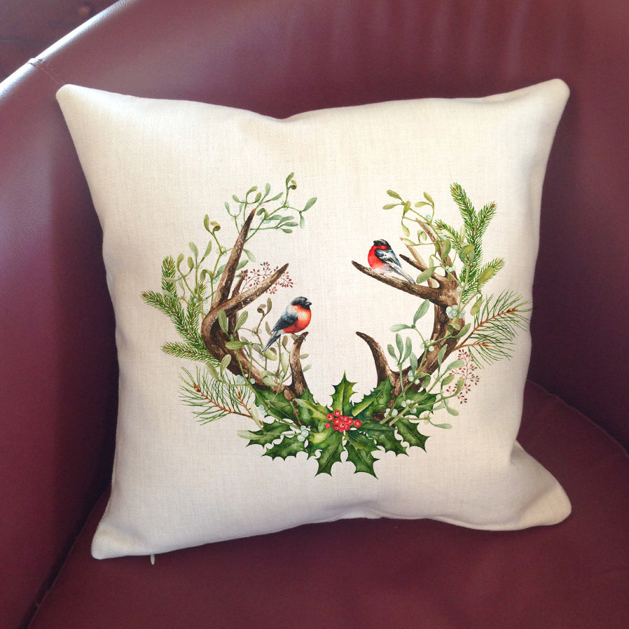 """Linen"" Pillow Cover 16"" - Antlers & Holly"