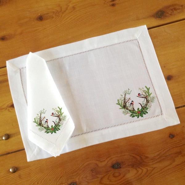 Hemstitch Place Mats & Napkins - Set of Six, Antlers & Holly