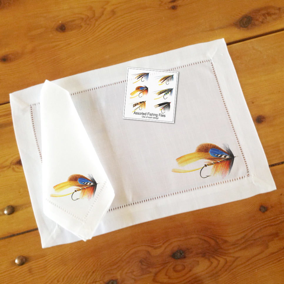 Assorted Fishing Flies Dinner Napkins, Set of Six