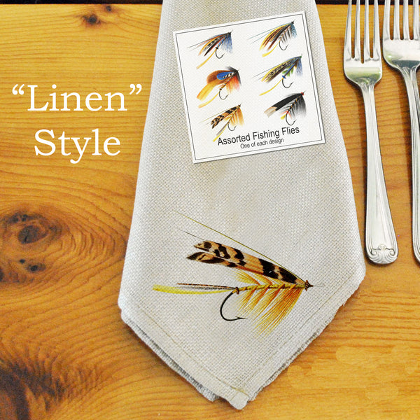 Table Linens, Set of Six - Assorted Fishing Flies