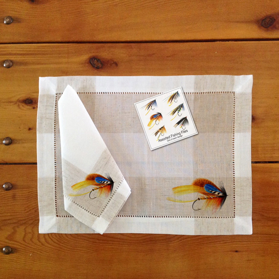 Hemstitch Place Mats & Napkins - Set of Six, Assorted Fishing Flies