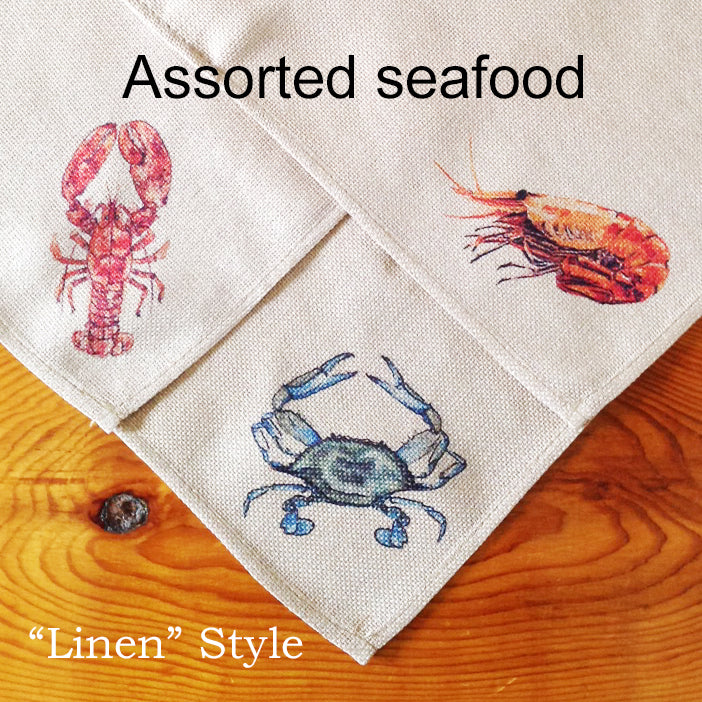 Table Linens, Set of Six - Assorted Seafood