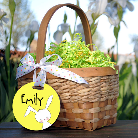 Easter Basket Tag, White Rabbit