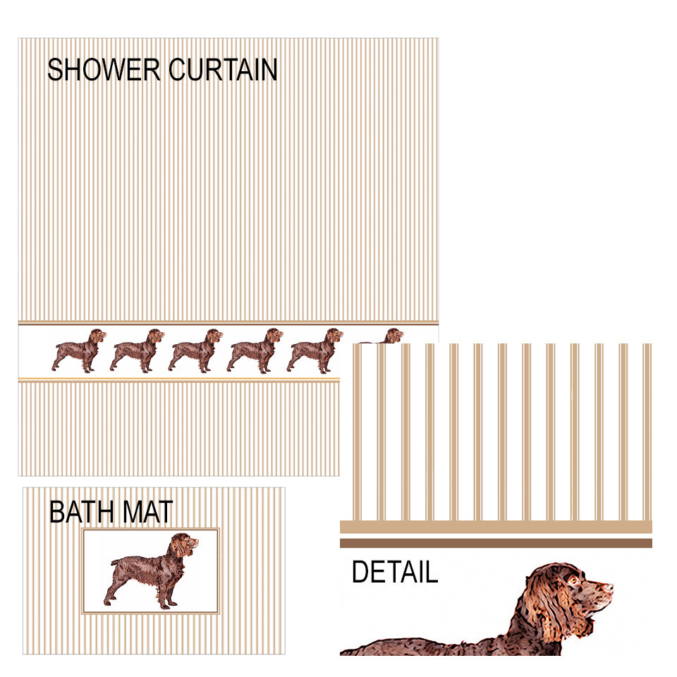 Boykin Spaniel Shower Curtain and Bath Mat