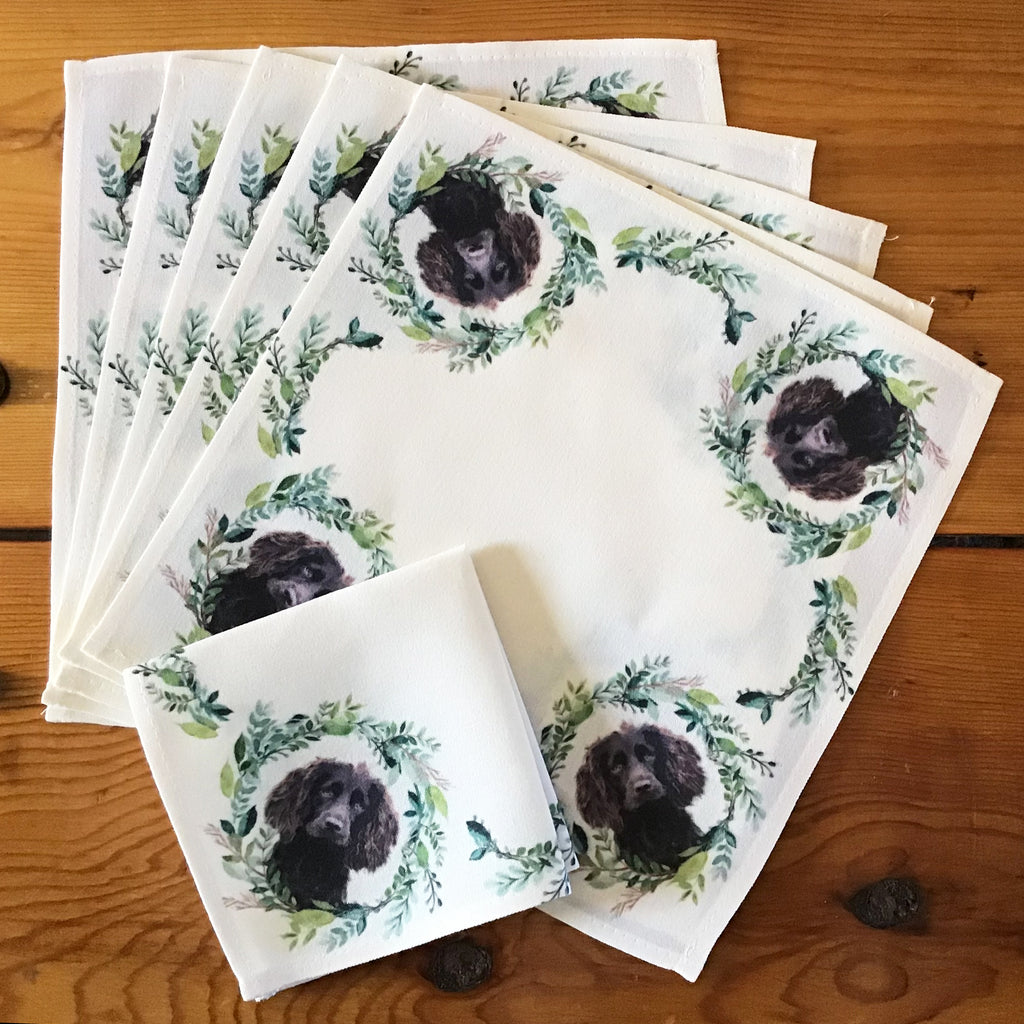 "Boykin Spaniel Cocktail/Beverage Napkins, 10"" x 10""- Set of Six"