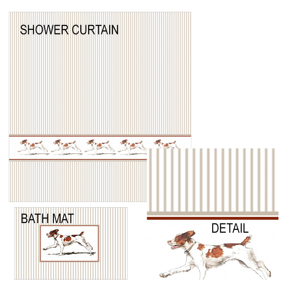 Brittany Spaniel Shower Curtain and Bath Mat