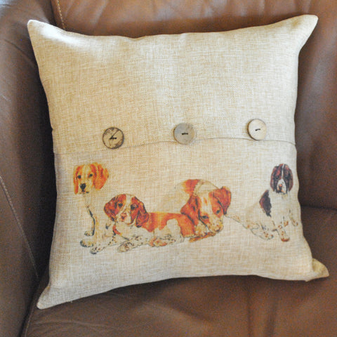 Brittany Pups Button Throw Pillow Cover