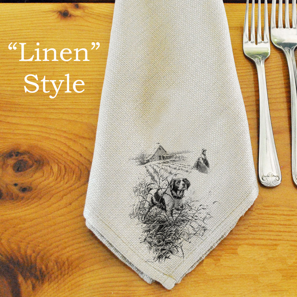 Table Linens, Set of Six - Brittany & Bobwhite Quail