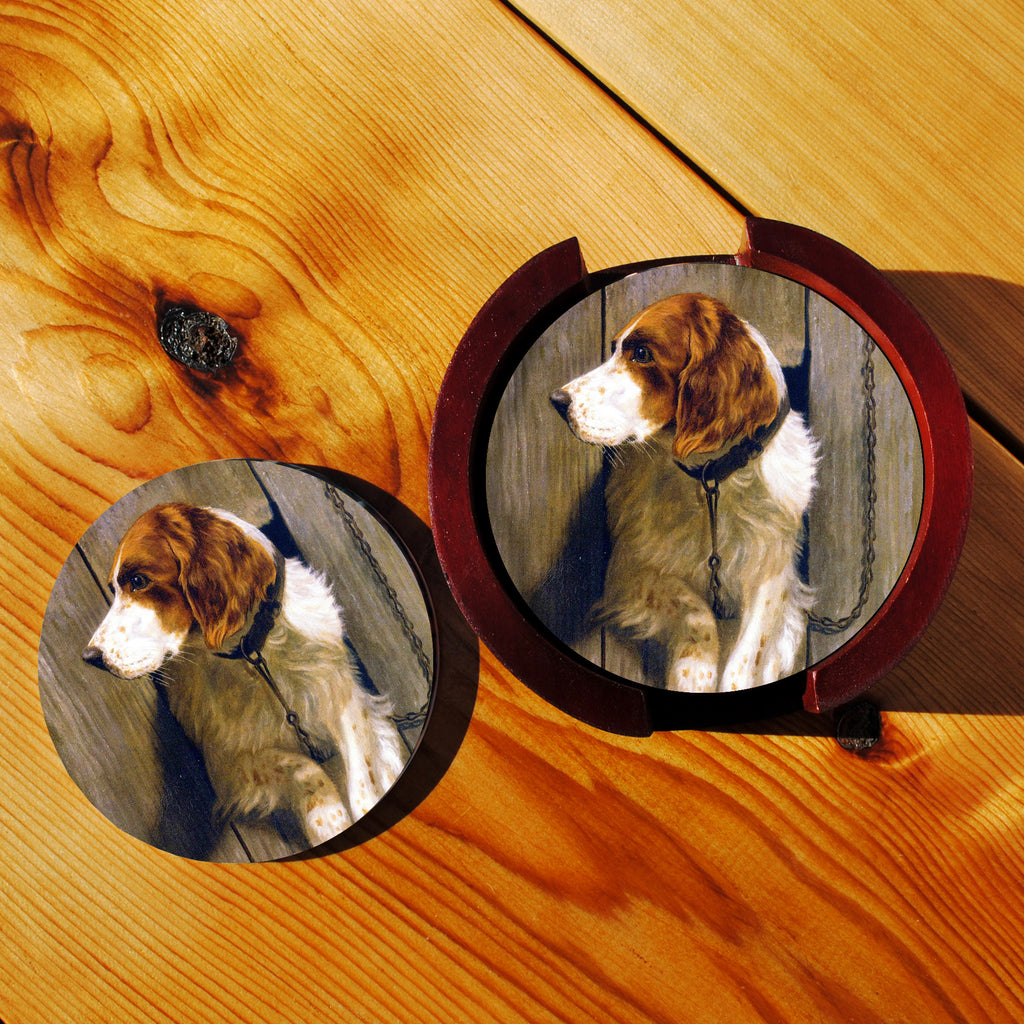 Brittany Spaniel Sandstone Coasters in Wood Rack
