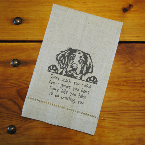 "Hemstitched ""Linen"" Tea Towel - Brittany Spaniel...watching you"