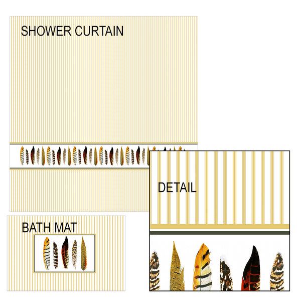 Pheasant Feathers Shower Curtain and Bath Mat