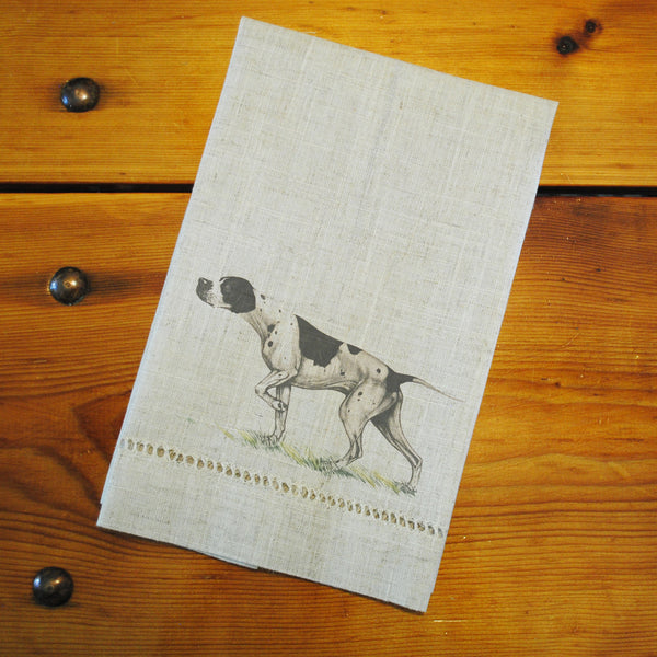 "Hemstitched ""Linen"" Tea Towel - Pointer"