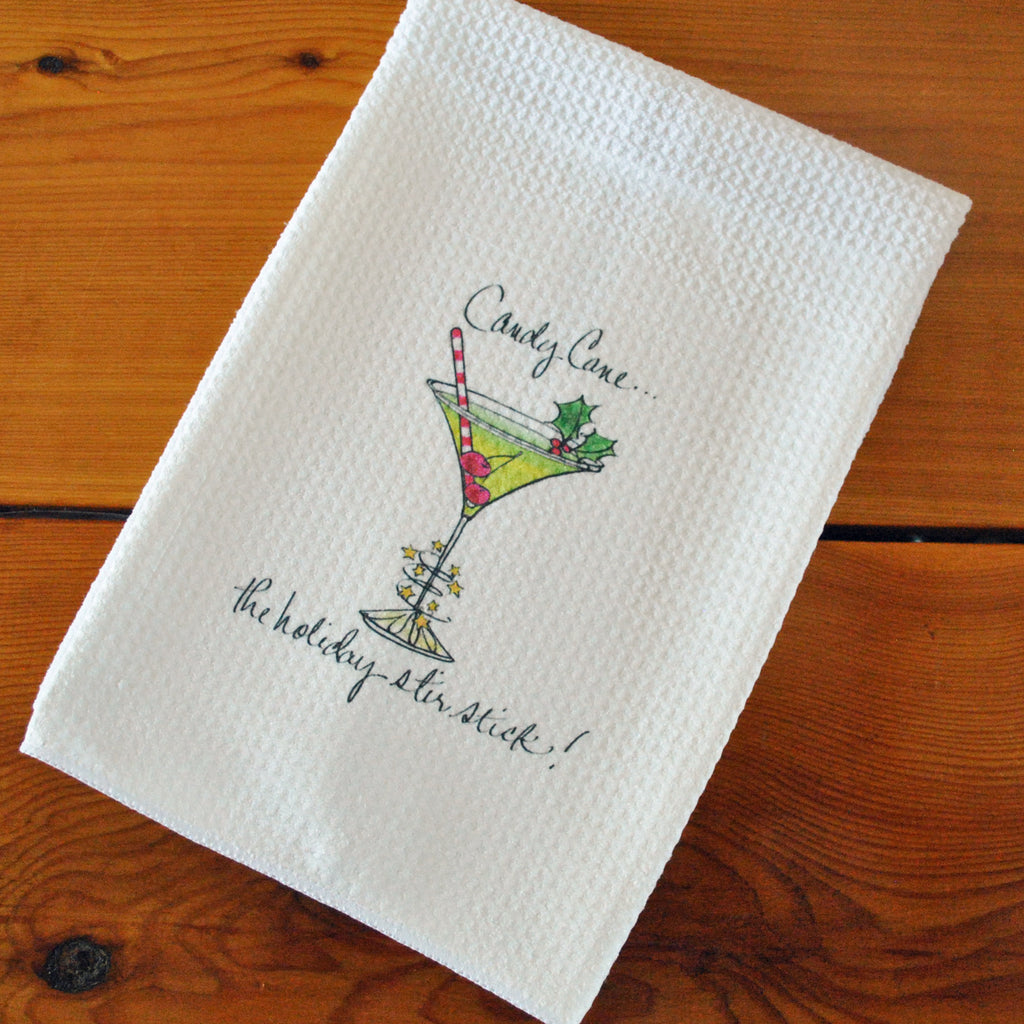 Tea Towel - Christmas, Candy Cane Stir Stick