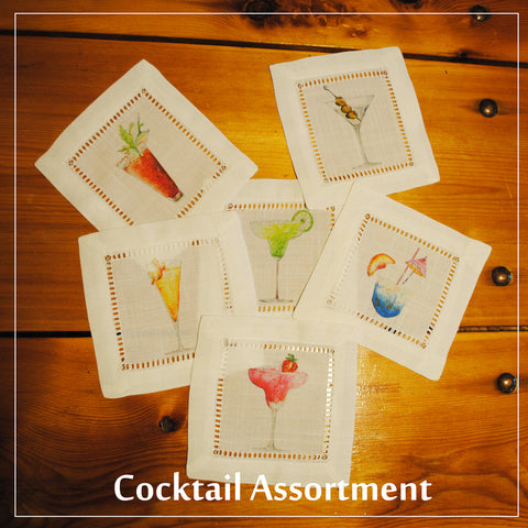 White Hemstitch Cocktail Napkins- Set of Six, Assorted Cocktails