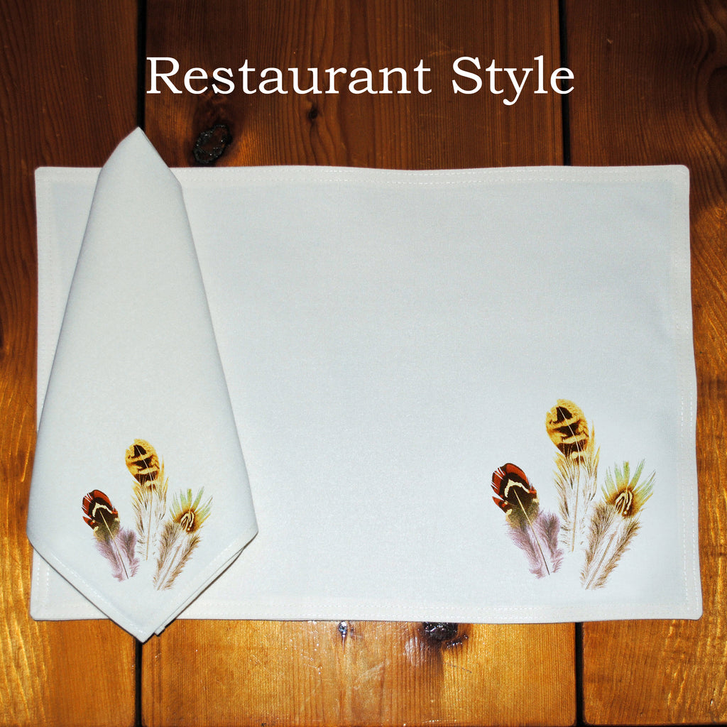 Table Linens, Set of Six - Gamebird Feathers