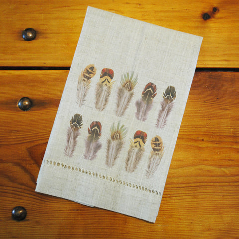 "Hemstitched ""Linen"" Tea Towel - Game Bird Feathers"