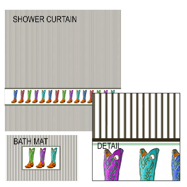 Cowboy Boots Shower Curtain and Bath Mat