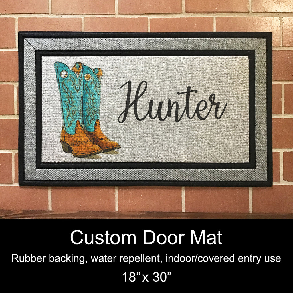 "Custom Door Mat, 18"" x 30""- Cowboy Boots"