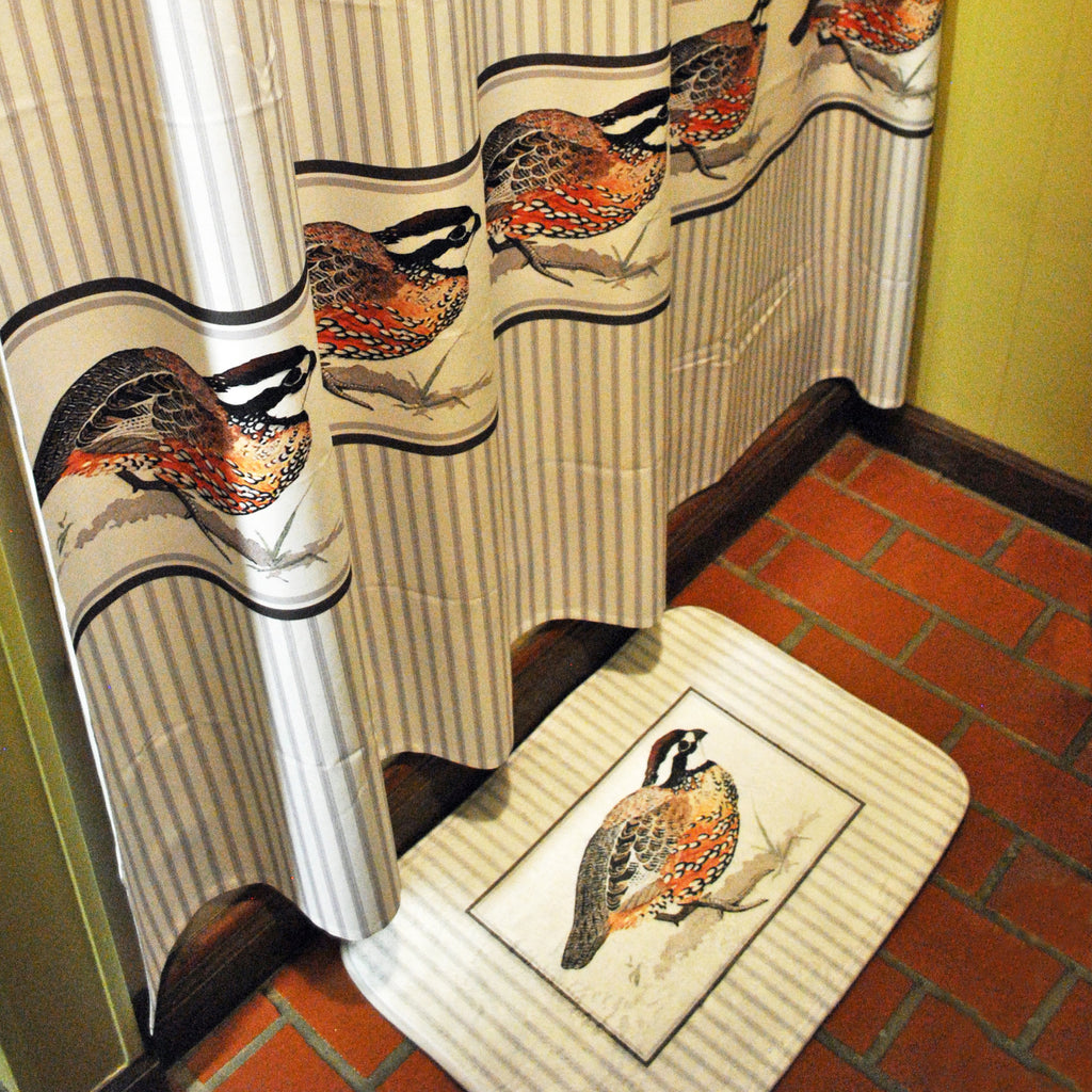 Bobwhite Quail Shower Curtain and Bath Mat