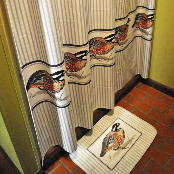 Gamebird Feathers Shower Curtain and Bath Mat