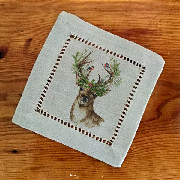Hemstitch Cocktail Napkins- Set of Six, Deer