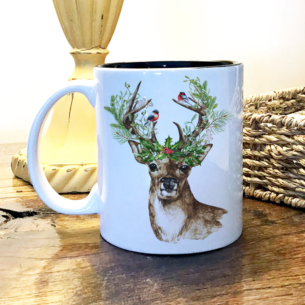 Ceramic Mug - Deer and Holly