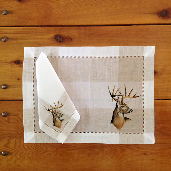 Hemstitch Place Mats & Napkins - Set of Six, Whitetail Deer