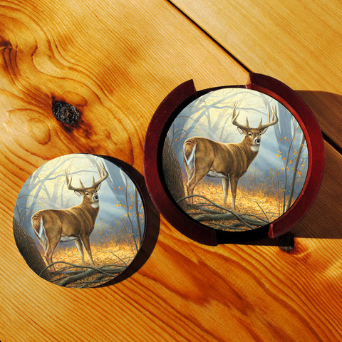 Whitetail Deer Sandstone Coasters in Wood Rack