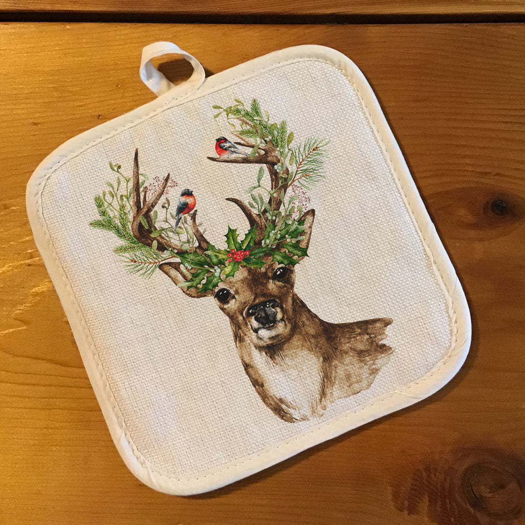 "Pot Holder, Natural Color ""Linen"" - Deer with Holly"